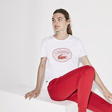 Image of Lacoste WHITE/GOJI RED-CHEEKBONE WOMEN'S BADGE LOGO TEE