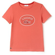Image of Lacoste CHEEKBONE/WHITE-GOJI RED WOMEN'S BADGE LOGO TEE