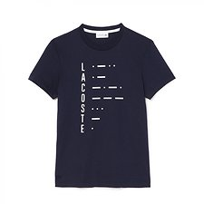 Image of Lacoste NAVY BLUE/WHITE SLIM FIT MORSE CODE LOGO TEE