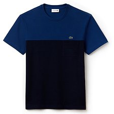 Image of Lacoste INKWELL/NAVY BLUE MEN'S COLOUR BLOCK TEE WITH POCKET