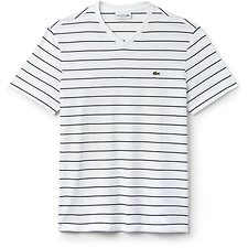 Image of Lacoste WHITE/NAVY BLUE MEN'S V NECK STRIPE TEE
