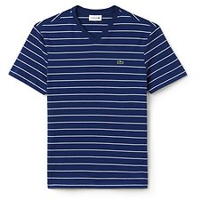 Image of Lacoste MARINO/WHITE MEN'S V NECK STRIPE TEE