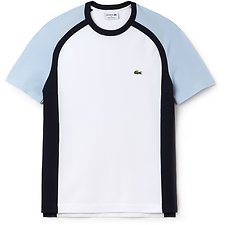Image of Lacoste WHITE/RILL-NAVY BLUE MEN'S RAGLAN COLOUR BLOCK TEE