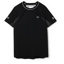 Image of Lacoste BLACK/WHITE-ARGENT MEN'S TECHNICAL RUNNING TEE