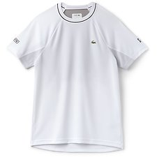 Image of Lacoste WHITE/BLACK MEN'S NOVAK DJOKOVIC TECHNICAL RUNNING TEE