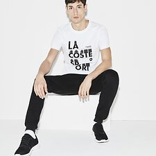 Image of Lacoste WHITE/BLACK MEN'S VERTICAL SPORT LOGO TEE