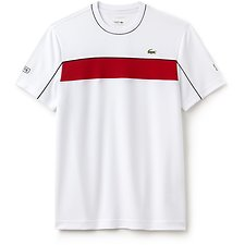 Image of Lacoste WHITE/RED-BLACK MEN'S CHEST STRIPE TEE