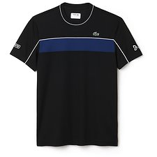 Image of Lacoste BLACK/MARINO-WHITE MEN'S CHEST STRIPE TEE