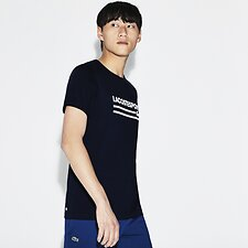 Image of Lacoste NAVY BLUE/WHITE MEN'S RETRO LOGO TEE