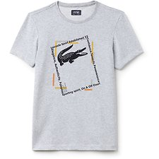 Image of Lacoste SILVER CHINE/NAVY BLUE-BU MEN'S PICTURE FRAME TEE