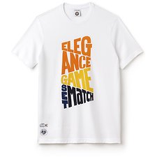 Image of Lacoste WHITE/APRICOT-BUTTER MEN'S ROLAND GARROS ELEGANCE GSM TEE