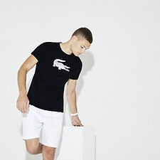 Image of Lacoste NAVY BLUE/WHITE MEN'S BIG CROC TEE