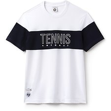 Image of Lacoste WHITE/NAVY BLUE MEN'S ROLAND GARROS TENNIS LOGO TEE