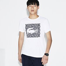 Image of Lacoste WHITE/NAVY BLUE MEN'S SQUARE LOGO TEE
