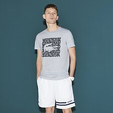 Image of Lacoste SILVER/NAVY BLUE MEN'S SQUARE LOGO TEE