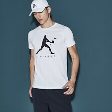 Image of Lacoste WHITE NOVAK DJOKOVIC SIGNATURE LOGO TEE
