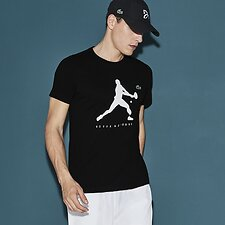 Image of Lacoste BLACK NOVAK DJOKOVIC SIGNATURE LOGO TEE
