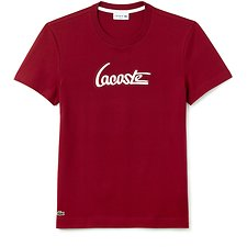 Image of Lacoste TURKEY RED/WHITE MEN'S SCRIPT LOGO TEE