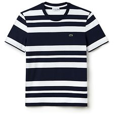 Image of Lacoste NAVY BLUE/WHITE MEN'S SLIM FIT STRIPE TEE
