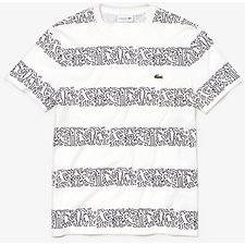 Image of Lacoste WHITE/MULTICO MEN'S KEITH HARING STRIPE TEE