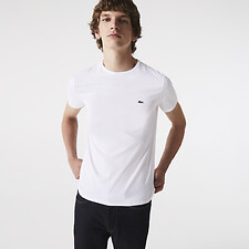 Image of Lacoste WHITE MEN'S BASIC CREW NECK PIMA TSHIRT