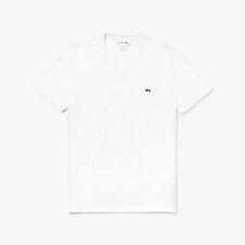 Image of Lacoste WHITE MEN'S BASIC V NECK PIMA TEE