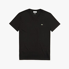 Image of Lacoste BLACK MEN'S BASIC V NECK PIMA TEE