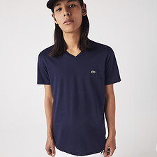 Image of Lacoste NAVY BLUE MEN'S BASIC V NECK PIMA TEE