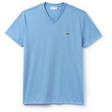 Image of Lacoste OCEAN BLUE MEN'S BASIC V NECK PIMA TEE