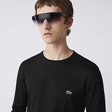 Image of Lacoste BLACK MEN'S BASIC CREW NECK LONG SLEEVE PIMA TEE
