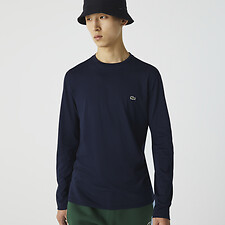 Image of Lacoste NAVY BLUE MEN'S BASIC CREW NECK LONG SLEEVE PIMA TEE