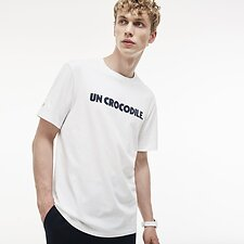 Image of Lacoste WHITE/NAVY BLUE MEN'S UN CROCODILE TEE