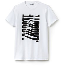 Image of Lacoste WHITE/BLACK MEN'S RIPPLE LOGO TEE