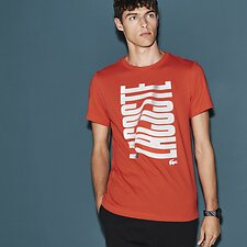 Image of Lacoste MEXICO RED/WHITE MEN'S RIPPLE LOGO TEE