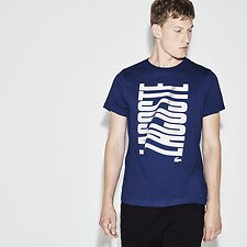 Image of Lacoste OCEAN/WHITE MEN'S RIPPLE LOGO TEE