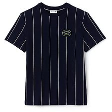 Image of Lacoste NAVY BLUE/FLOUR MEN'S RELAX FIT VERTICAL STRIPE TEE WITH BADGE