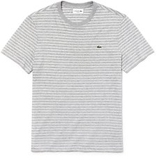 Image of Lacoste PLUVIER CHINE/FLOUR MEN'S CREW NECK STRIPE TEE