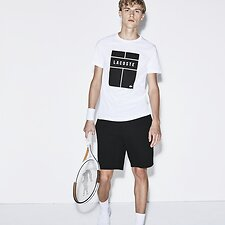 Image of Lacoste WHITE/BLACK-WHITE MEN'S TENNIS COURT LOGO TEE