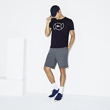 Image of Lacoste NAVY BLUE/WHITE MEN'S TENNIS BALL LOGO TEE