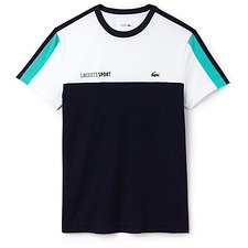 Image of Lacoste WHITE/NAVY BLUE-PAPEETE MEN'S SPORT COLOUR BLOCK PERFORMANCE TEE