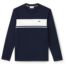 Image of Lacoste NAVY BLUE/FLOUR MEN'S LONG SLEEVE SLIM FIT TSHIRT WITH CHEST STRIPE