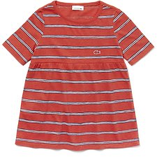 Image of Lacoste WATERMELON/NAVY BLUE-WHIT KIDS' PRINTED STRIPE TEE