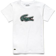 Image of Lacoste WHITE KIDS' BIG CROC PRINTED TEE