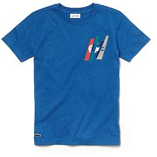 Image of Lacoste SAUREL CHINE KIDS' COLOUR BLOCK CROCODILE TEE