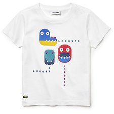 Image of Lacoste WHITE KIDS' PRINTED COTTON TEE