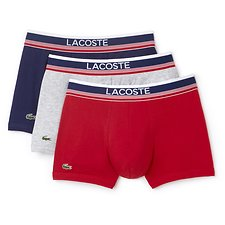 Image of Lacoste BLUE/GREY/ CHERRY MEN'S 3 PACK COTTON TRUNKS