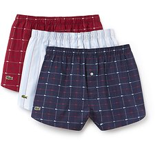 Image of Lacoste WHITE/RED/BLUE MEN'S 3 PACK WOVEN BOXERS