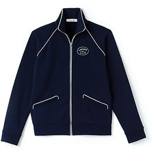 Image of Lacoste NAVY BLUE/FLOUR WOMEN'S RETRO TRACK JACKET WITH PIPING