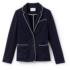 Image of Lacoste NAVY BLUE/FLOUR WOMEN'S COTTON CREPE INTERLOCK BLAZER