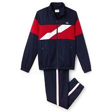 Image of Lacoste NAVY BLUE/LIGHTHOUSE RED-WHITE MEN'S LACOSTE SPORT DISCONNECTED STRIPE TRACKSUIT